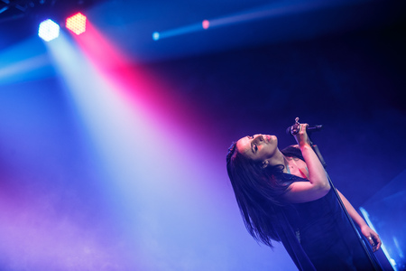 executor: KYIV, UKRAINE - DECEMBER 5: The famous Ukrainian singer Jamala gave a concert presenting her new album Podykh (Breath), 5 December 2016, International Center of Culture and Arts (October Palace)