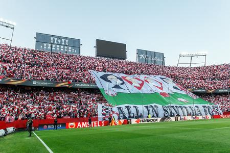 sevilla: SEVILLA, SPAIN - MAY 5: Sevilla FC fans showing huge banner All in Sevilla FC during the UEFA Europa League second leg semi-finals match between FC Shakhtar Donetsk vs Sevilla FC, 5 May 2016, Ramon Sanchez Pizjuan, Spain