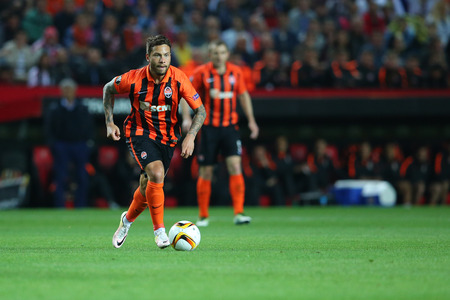 SEVILLA, SPAIN - MAY 5: Marlos runs with a ball during the UEFA Europa League second leg semi-finals match between FC Shakhtar Donetsk vs Sevilla FC, 5 May 2016, Ramon Sanchez Pizjuan, Spain