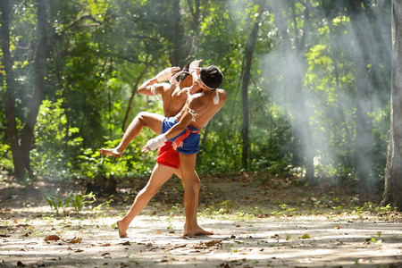Muay thai chaiya art fight boxing and combat rope tied hand Stock Photo