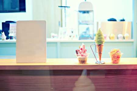 Store ice cream colors with vintage space.