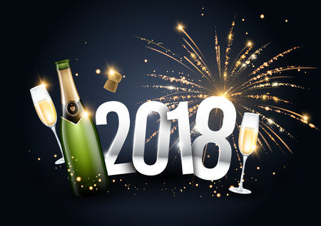2018 vector illustration with a champagne bottle, glasses and fireworks in the background can be used for banner or poster design