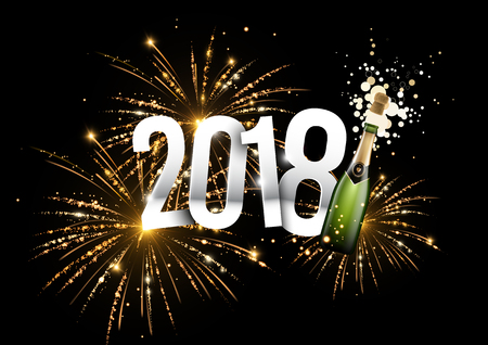 2018 vector illustration with a champagne bottle and fireworks in the background can be used for banner or poster design