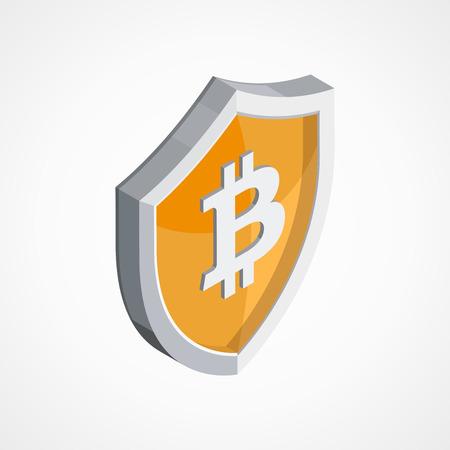Bitcoin economy protection concept vector illustration Illustration