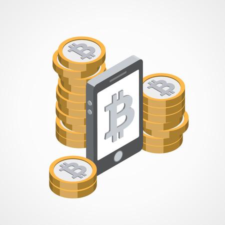 Bitcoin economy concept vector illustration Illustration