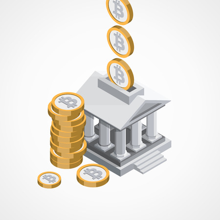 Bitcoin economy concept vector illustration Illustration