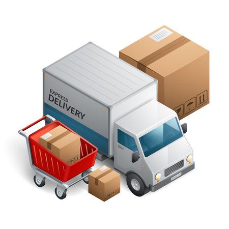 Delivery service truck vector illustration Illustration