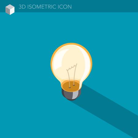 light bulb 3D isometric web icon