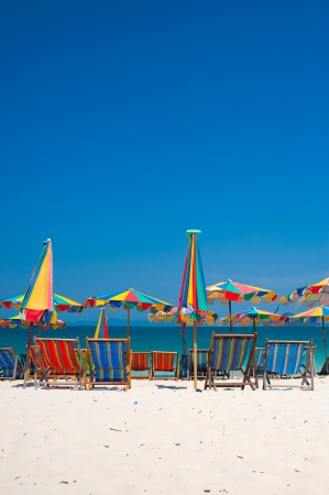 Colorful beach chairs, white sand and the sky, Phuket in thailand photo