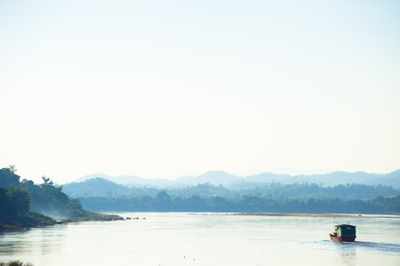 mekong: Beautiful Mekong river mountain landscape