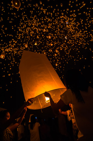mai: Floating lantern in Yee Peng festival Buddhist floating lanterns to the Buddha in Sansai district Chiang Mai Thailand Editorial