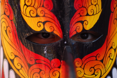 ghost mask: PHI TA KHON Festival Ghost Festival on June in Loei province young people dress in spirit and wear a mask, sing and dance holiday in LOEI, THAILAND