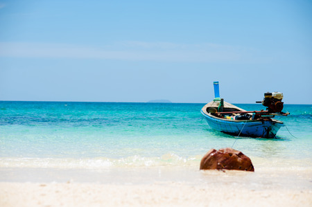 pristine coral reef: Fishing boats at the beach Phuket, Thailand Stock Photo