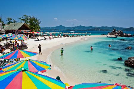 Tropical white sand beach arainst blue sky. Similan islands, Phuket Thailand Stock Photo