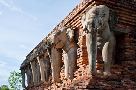 gautama: Wat Chang lom (Elephant statues around)  Sukhothai Historical Park ,Sukhothai Thailand