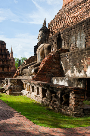 Sukhothai historical park the old town of Thailand Ancient Buddha Statue at Wat Mahathat in Sukhothai Historical Park,Thailand