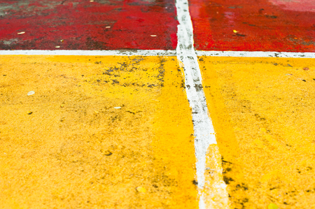 Abstract sports floor showing markings colorful for different games, multi-sport painted on court