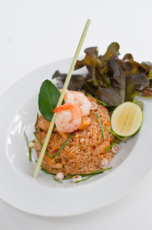 favorite soup: Fried rice with chili and prawns (Khao Pad Tom Yum Kung)  Thai Spicy Food (Thai cuisine)