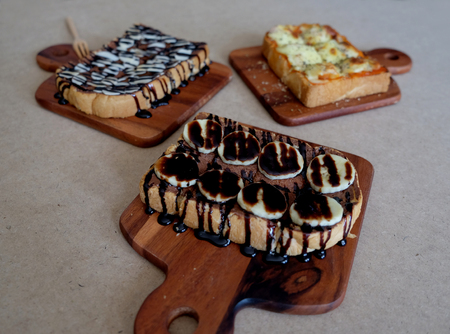 banana bread: breakfast toast, Pizza toasted bread, bananas chocolate toasted bread, toast topping with chocolate peanut