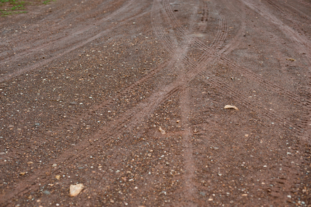 Traces of wheeled vehicles used in agriculture on a dirt road