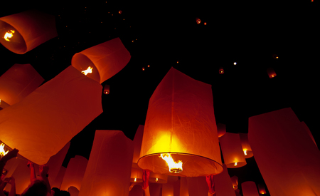 Floating lantern in Yee Peng festival (Loy Krathong), Buddhist floating lanterns to the Buddha in Sansai district  in CHIANG MAI THAILAND