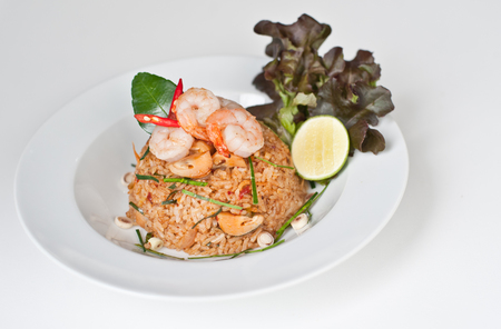 Fried rice with chili and prawns (Khao Pad Tom Yum Kung)  Thai Spicy Food (Thai cuisine)