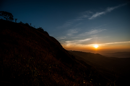 recommended: Beautiful landscape sunrise nature background Mountains and sky gold color