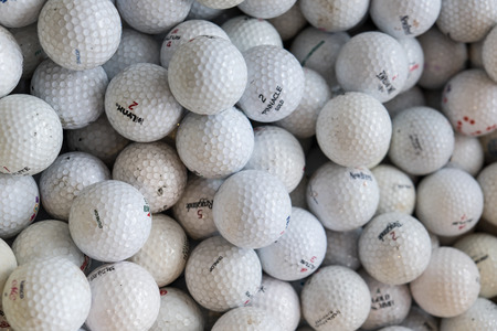 PATTATA THAILAND OCTOBER 4 : White golf balls of a pile in the box on October 4, 2015. at Pattaya Chonburi, Thailand.