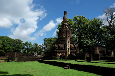 Wat Phra That with Buddha Statues Historical Park in Kamphaeng Phet, Thailand (a part of the UNESCO World Heritage Site Historic Town of Sukhothai and Associated Historic Towns)