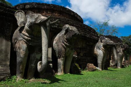 Stone Elephant Statues Base of Stupa at