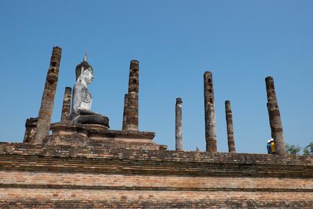 Ancient pagoda at Sukhothai Historical Park, Mahatat Temple, Sukhothai Historical Park, Thailand
