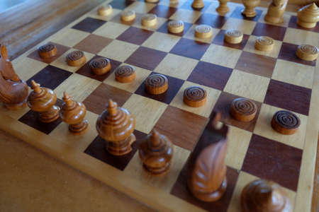 chess old wood game Stock Photo