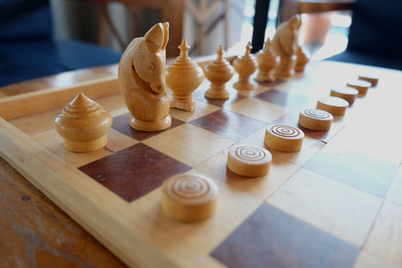battle plan: chess old wood game Stock Photo