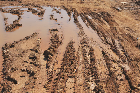 traction: Traces of wheeled vehicles used in agriculture on a dirt road