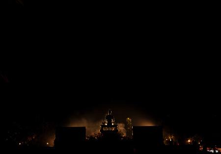 Silhouette the monument of King Ramkhamhaeng, Sukhothai Historical Park, Sukhothai, Thailand Stock Photo