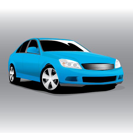 Vector sports blue car front view illustration 向量圖像