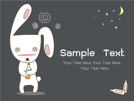 rabbit character drunk late at night, vector illustration Ilustrace