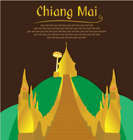 Doi Suthep Chiang Mai, Northern of Thailand Ilustrace