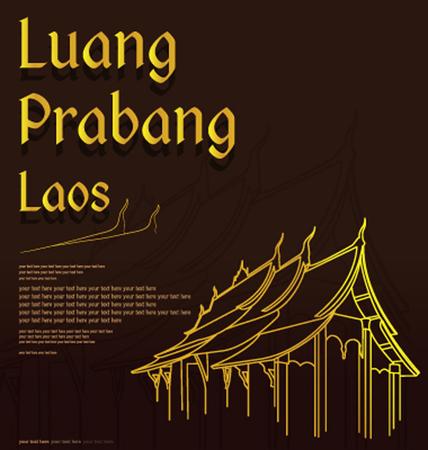 Wat Xieng thong temple,Luang Pra bang, Laos  イラスト・ベクター素材