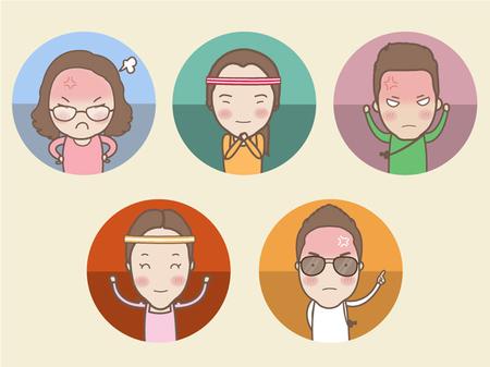 Group cartoon cute  people characters, vector illustration Illustration