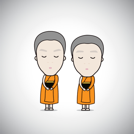 Cartoon Thai Monks receive food temple background, cute vector Illustration