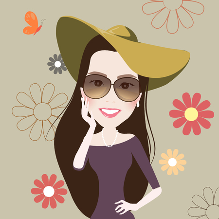 Beautiful Fashion girl smile cute, retro, vintage. illustration vector 일러스트