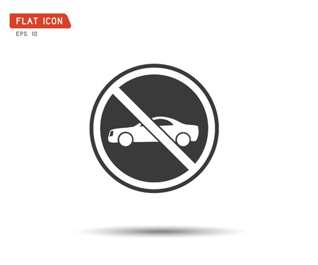 Circle Prohibited No car parking traffic sign, prohibit red vector illustration