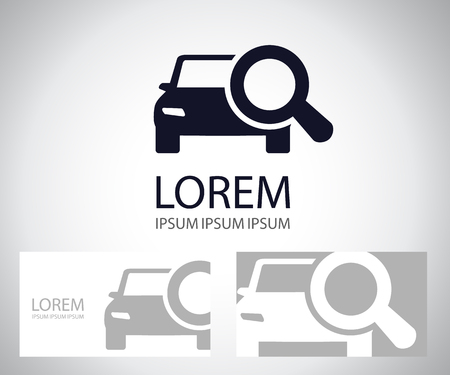 Looking For Car selling icon, magnifying glass search car, logo car deal vector illustration