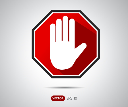 Stop hand octagonal sign for prohibited activities, logo Vector illustration Stock Photo