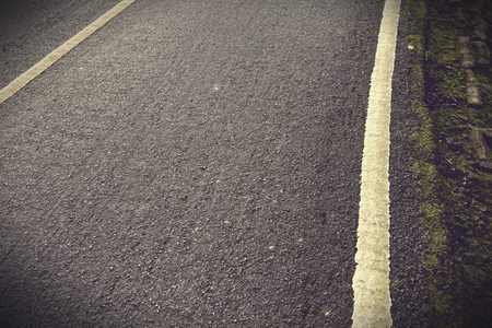 New asphalt texture with white line on road