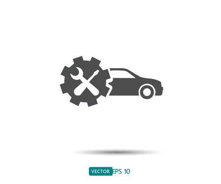 Car service icon, Auto Repair, Flat Maintenance logo design Vector illustration Ilustração