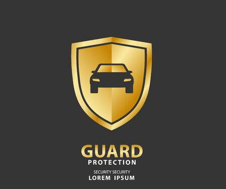 vehicle icon luxury shield, auto car gold guard insurance logo vector illustration