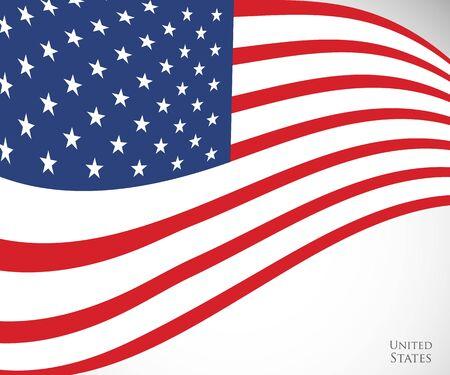 grafika wektorowa amerykańskiej flagi, symbol USA Stany Zjednoczone, tło Dzień Niepodległości