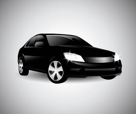 Black car side. silhouette Vector illustration